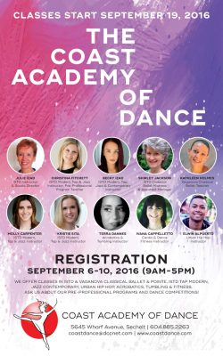 Coast Academy of Dance classes start September 19, 2016. Registration Sept 6-10.