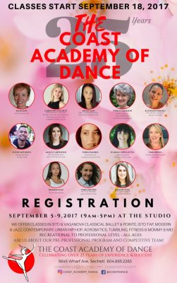 Coast Academy of Dance 2017/18 Registration Sept 5-9