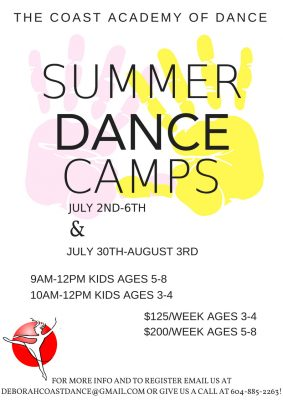Summer Dance Camps ages 3-4 and 5-8