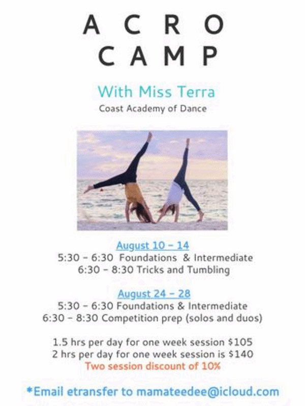 Acro Camp with Miss Terra, August 2020